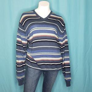 Nautica Oversized V neck  Stripe Sweater